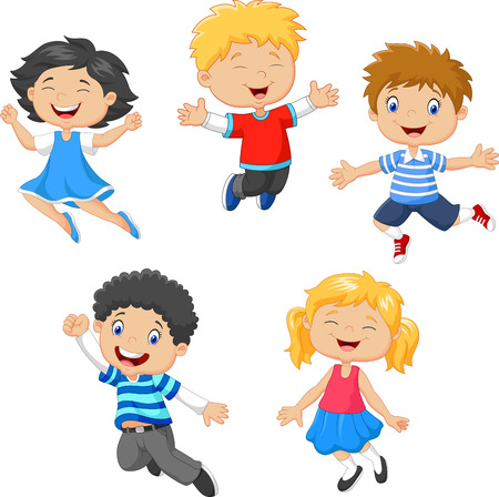 Vector illustration of Children jumping together on white background