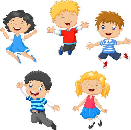 niños felices: Ilustración vectorial de niños que saltan juntos en el fondo blanco