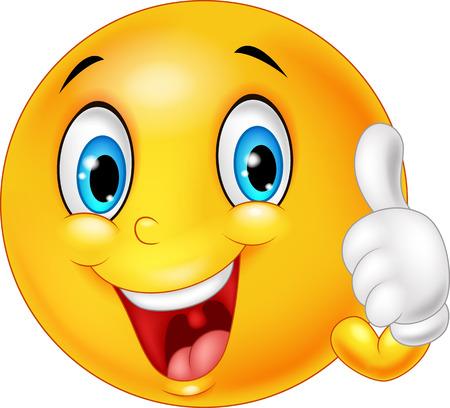 carita feliz caricatura: Ilustración vectorial de Emoticon feliz que da el pulgar para arriba aislados en el fondo blanco