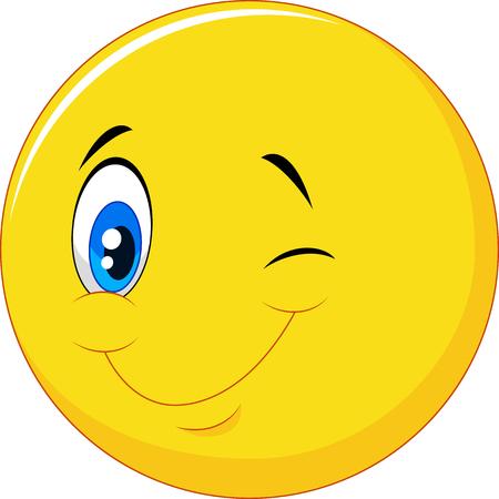 blinking: Vector illustration of Happy emoticon cartoon with eye blinking on isolated background Illustration