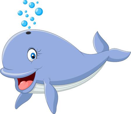 ballena azul: Ilustraci�n del vector de la ballena azul de dibujos animados aislado en el fondo blanco Vectores