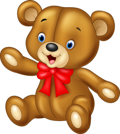 oso de peluche: Ilustración vectorial de dibujos animados de peluche oso agitando la mano sobre fondo blanco