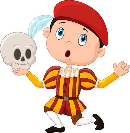 Vector illustratie van Jongetje spelen Hamlet in een toneelstuk op school, die een schedel