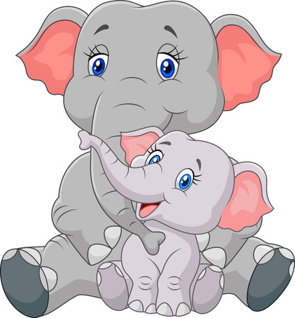 Vector illustration of Cartoon mother and baby elephant sitting isolated on white background Illustration