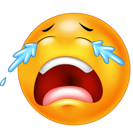 Vector iustration of Cartoon emoticon crying with tears, isolated on white background