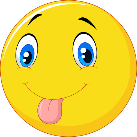 Vector illustration of Cartoon emoticon with silly face on white background