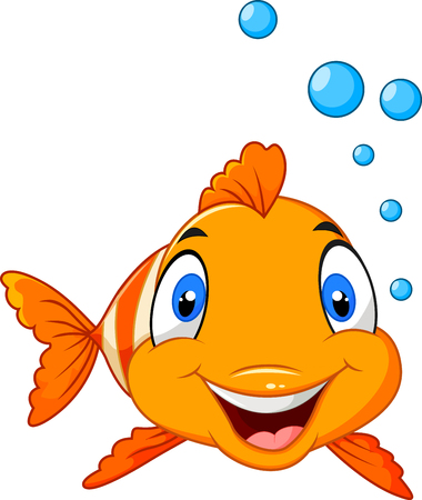 Vector illustration of Cute clown fish cartoon underwater and bubble Illustration