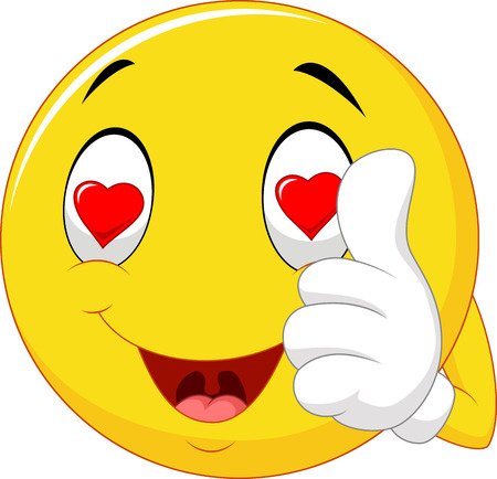 hand showing thumbs up: Vector illustration of Cartoon smiley love face and giving thumb up