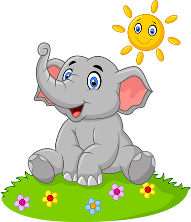 Vector illustration of Cute elephant sitting in the jungle on summer time Иллюстрация