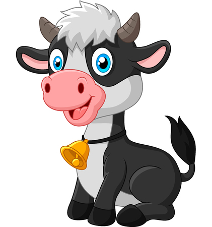 cow bells: Vector illustration of Happy baby cow sitting on white background