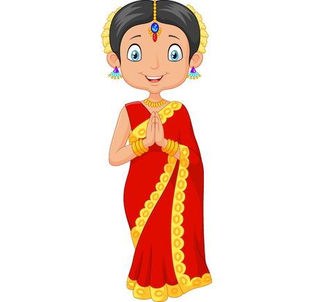 Vector ilustrador de dibujos animados niña india con un vestido tradicional