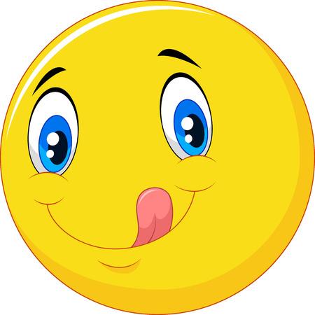 Vector ilustrador de dibujos animados emoticon deliciosa con la lengua fuera Foto de archivo - 45594465