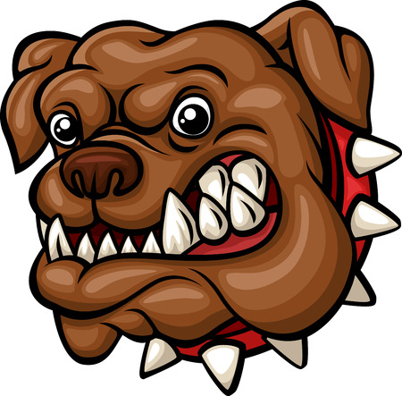 by the collar: Vector illustration of Angry cartoon bulldog head mascot