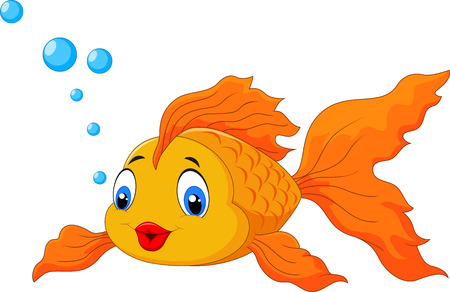 Happy goldfish with bubbles