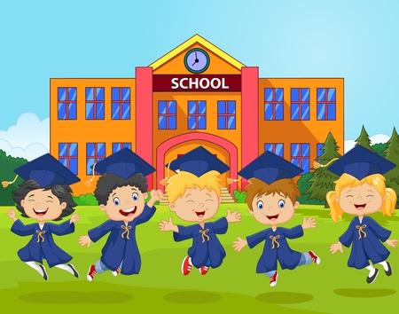 graduacion caricatura: Ilustraci�n vectorial de la celebraci�n de la graduaci�n de la historieta con la escuela