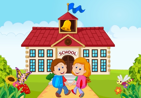 niños en la escuela: Vector illustratio de Felices los niños pequeños van a la escuela