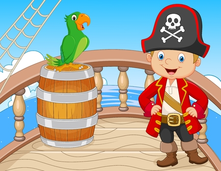 pirate crew: Vector illustration of Cartoon pirate on the ship with green parrot in the sea Illustration