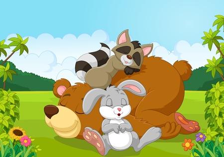 Vector illustration of Cartoon wild animals sleeping in the jungle