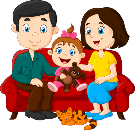 mom and daughter: Vector illustration of Happy family sitting on the red sofa Illustration