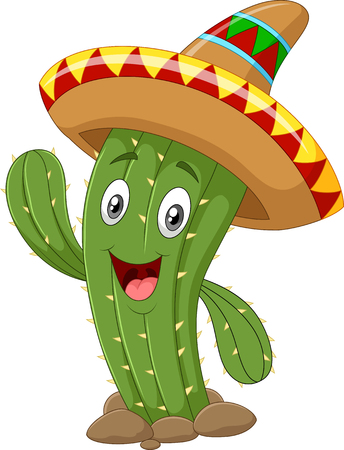 caricatura mexicana: Ilustraci�n vectorial de cactus feliz agitando la mano aisladas sobre fondo blanco Vectores