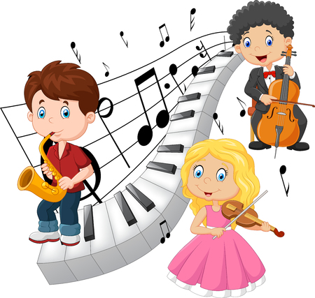 violines: Ilustración vectorial de los niños pequeños tocando música con el fondo de tono de piano