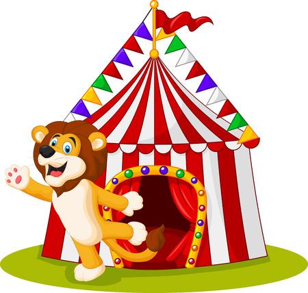 waving hand: Vector illustration of Cute lion waving hand in the front of circus tent Illustration