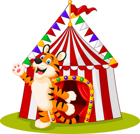 cirque: Vector illustration of Happy tiger animal with circus tent Illustration