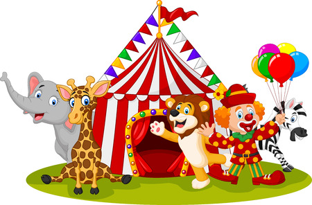 Vector illustration of Cartoon happy animal circus and clown Illustration