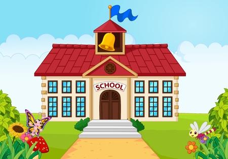 Ilustración del vector del edificio de la escuela de la historieta aislado con patio verde