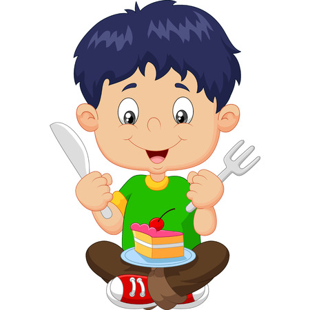 Vector illustration of Cartoon boy eating cake isolated on white background