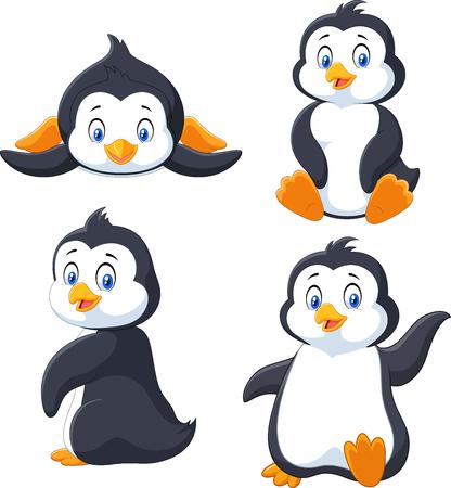 漫画のペンギンが白い背景で隔離のコレクションのベクトル イラスト