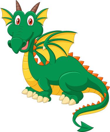 green dragon: Cartoon happy green dragon Illustration