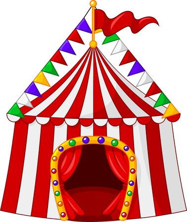 enjoyment: Vector illustration of Cartoon circus tent isolated on white background Illustration