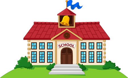 Vector illustration of Cartoon school building isolated with green yard