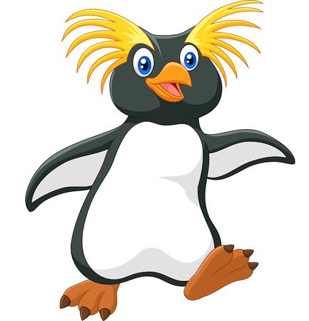 Vector illustration of Happy cartoon penguin rockhopper on white background