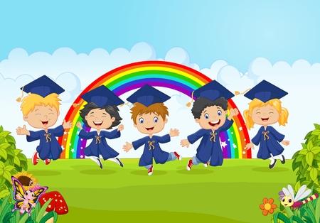 Ilustración vectorial de los niños pequeños felices celebran su graduación con la naturaleza de fondo