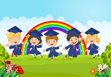 Vector illustration of Happy little kids celebrate their graduation with nature background