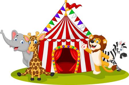 Vetor illustration of Cartoon animal circus with circus tent