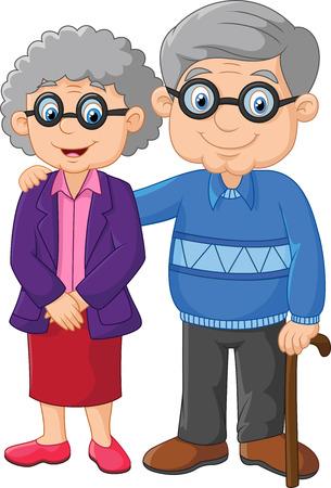 abuela: Vector Ilustración de la historieta de pareja de ancianos aislados en fondo blanco