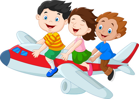 niña: Ilustración del vector de la historieta de los niños pequeños que montan avión aisladas sobre fondo blanco