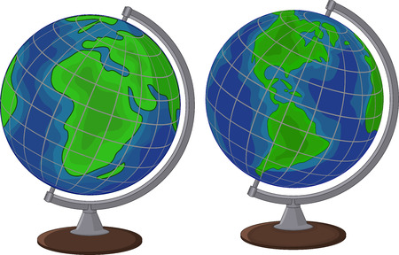educational tools: Vector illustration of Cartoon globe two side Illustration