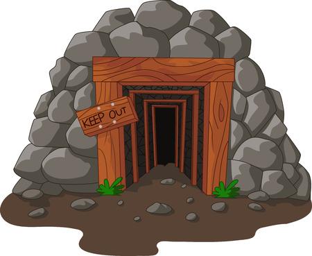 Vector illustration of Cartoon mine entrance in the mountain