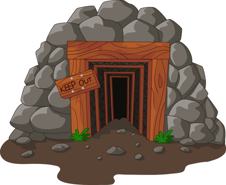 mine: Vector illustration of Cartoon mine entrance in the mountain