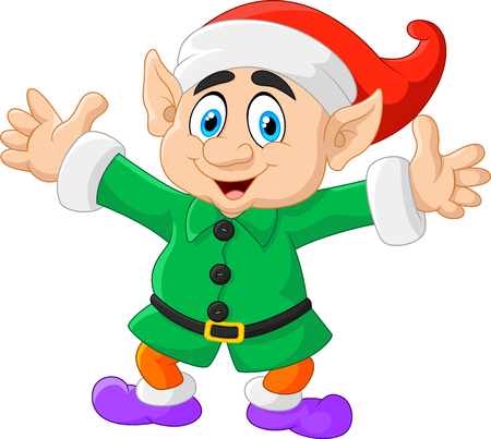 both: Vector illustration of Cartoon Christmas Elf waving with both hands