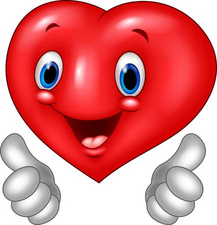 smiley pouce: Vector illustration de bande dessinée de coeur d'amour donnant pouce isolé sur fond blanc Illustration