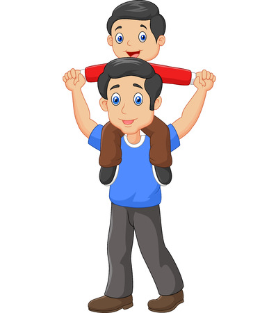 dad son: illustration of Father giving his son piggyback ride. isolated on white background