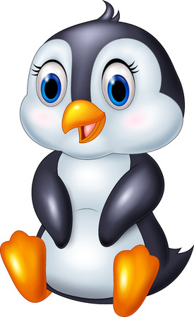 cute animal cartoon: illustration of Cute cartoon animal penguin sitting isolated on white background