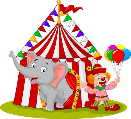 clown cirque: illustration de bande dessinée d'éléphant mignon et clown avec chapiteau de cirque
