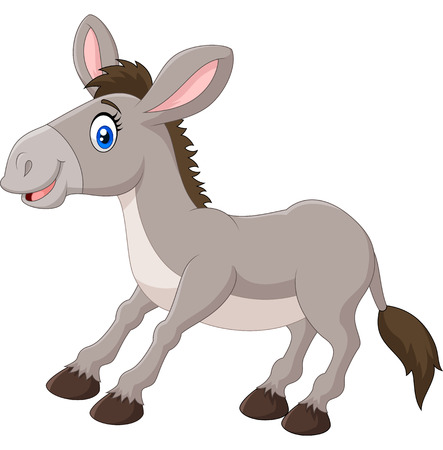 illustration of a cartoon happy donkey on white background
