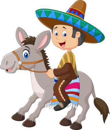Ilustración vectorial de los hombres mexicanos montando un burro aislado en fondo blanco